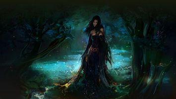 Бесплатные фото девушка,волосы,прическа,лес,деревья,листья,ветки