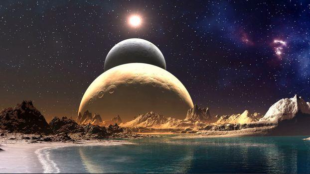 космос, парад планет, обои, фантастика, планеты