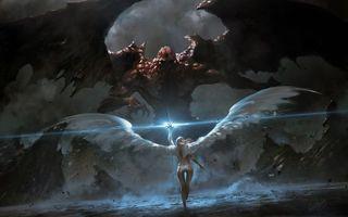 Бесплатные фото крылья,ангел,демон,когти,руки,перья,волны