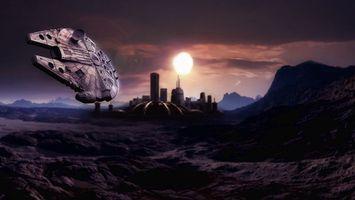 Обои марс, поселение, дома, база, космический, корабль, земля, солнце, закат, фантастика, рендеринг