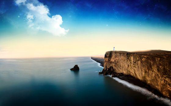 Бесплатные фото море,маяк,звёзды,пейзажи