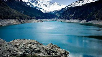 Бесплатные фото озеро,лед,горы,снег,камни,небо,пейзажи