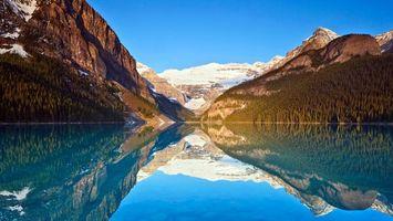 Бесплатные фото озеро, отражение, горы, деревья, снег, небо, природа