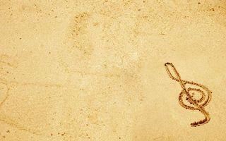 Заставки песок, рисунок, музыкальная, нота, пляж, музыка, минимализм