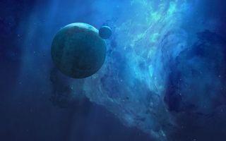 Обои планета, спутник, чужая, луна, туманность, пыль, газ, другие, миры, космос