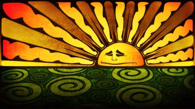 солнце, рисунок, узор, графика, лучи