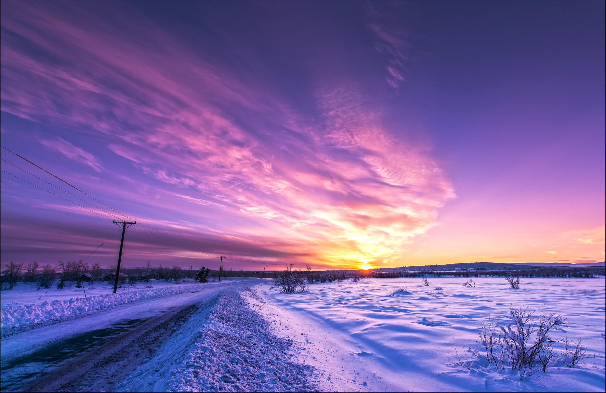 обои закат, дорога, зима, пейзаж картинки фото