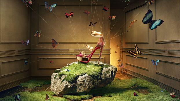 Бесплатные фото туфилька,бабочки,нити,разное