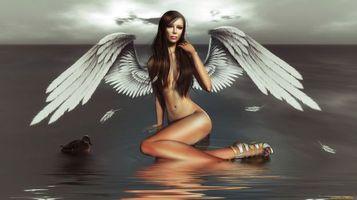 Бесплатные фото ангел,девушка,крылья,вода,озеро,утка,3d графика