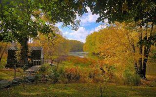 Бесплатные фото домик,мостик,камни,трава,кустарник,деревья,река