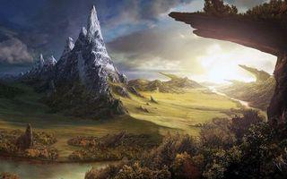 Фото бесплатно фэнтези, пейзаж, горы, пейзажи