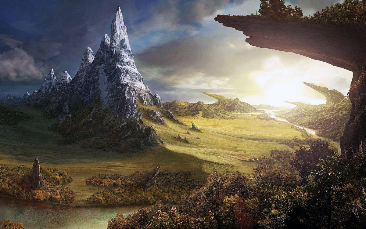 Фото бесплатно фэнтези, пейзаж, горы - на рабочий стол