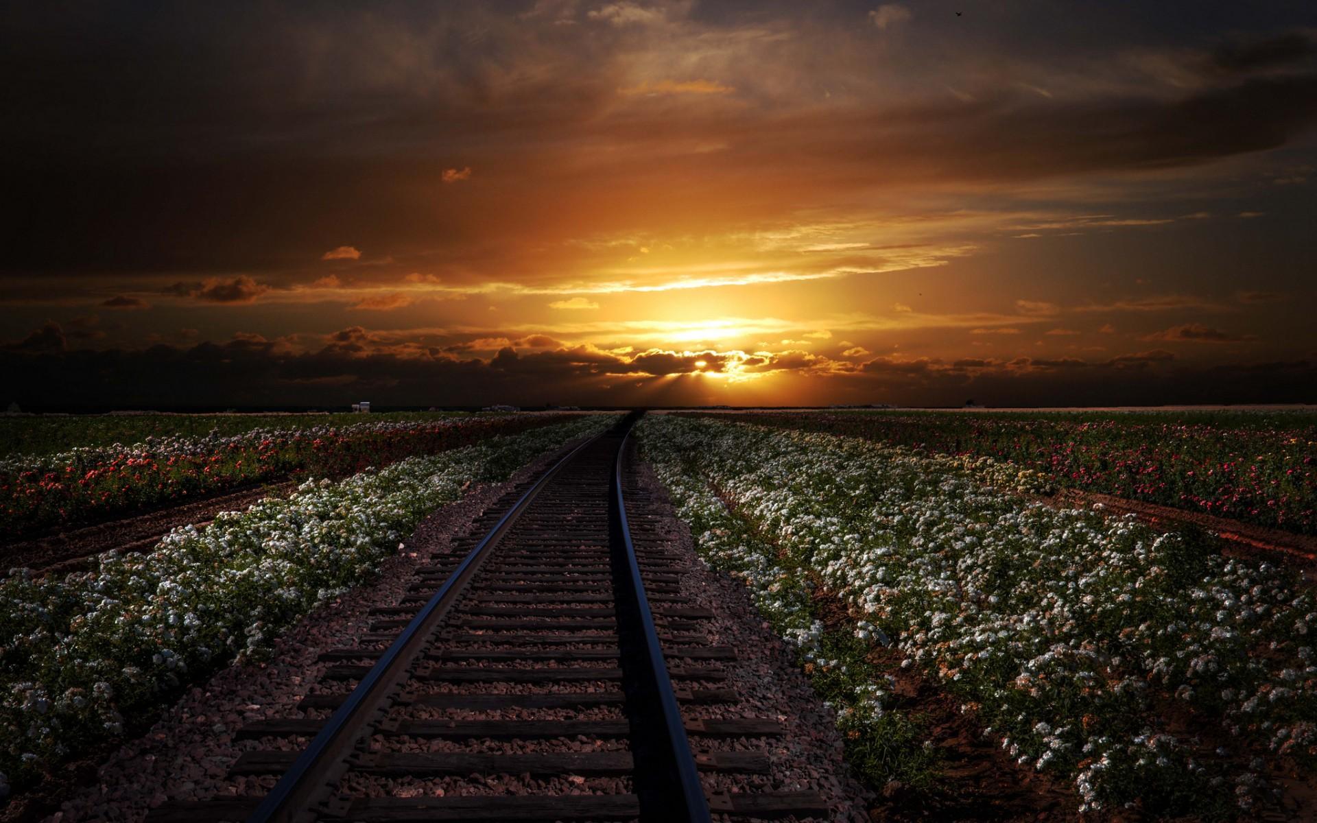 Обои путь, жд, Рельсы, солнца луч, шпалы. Разное foto 17
