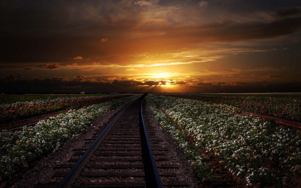 Фото бесплатно облака, железная дорога, поля - на рабочий стол