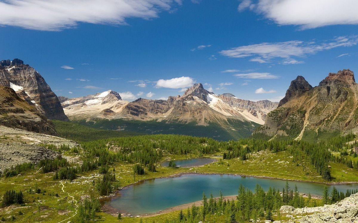 Фото бесплатно горы, камни, озеро - на рабочий стол