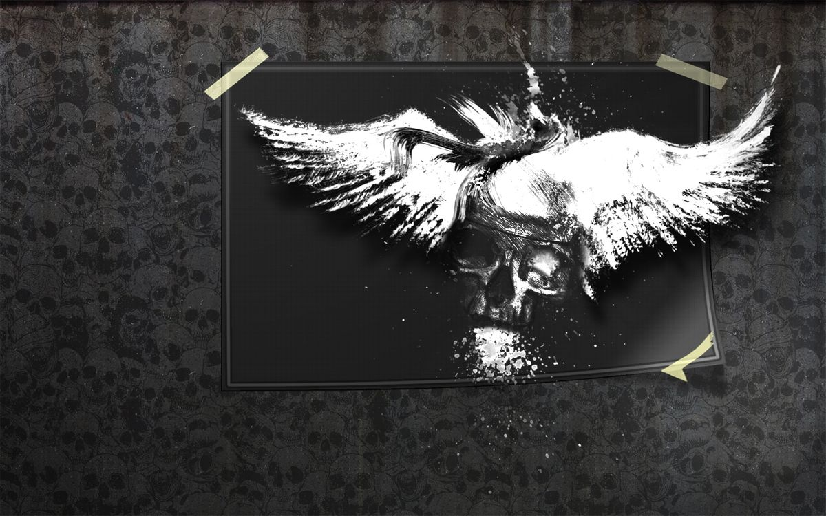 Фото бесплатно картинка, рисунок, череп, голова, кость, наклейки, обои, стена, разное, разное