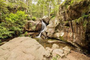 Бесплатные фото лес,деревья,скалы,водопад,речка,природа