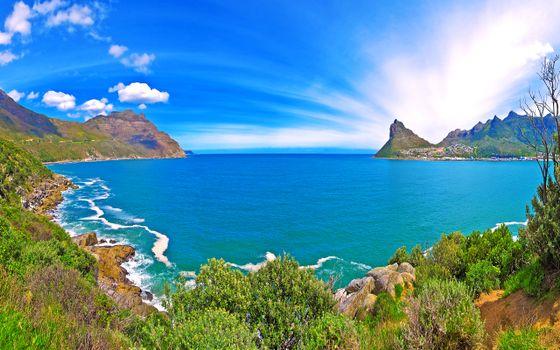 Фото бесплатно море, залив, облака, пейзажи