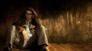 Бесплатные фото мужчина, сидит, очки, куртка, брюки, заставка, рендеринг