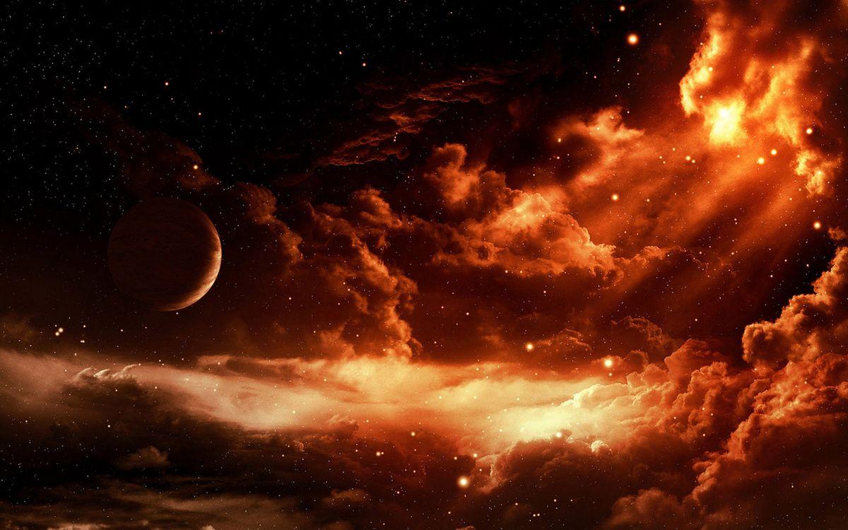 Фото бесплатно планета, свет, облака, звезды, красиво, зарево, космос, космос