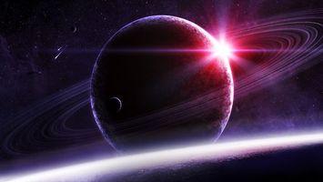 Фото бесплатно планета, кольца, спутник, красное, солнце, звезды, галактика, космос