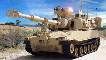 Фото бесплатно танк, песочный, дуло, пулемет, небо, голубое, песок, оружие