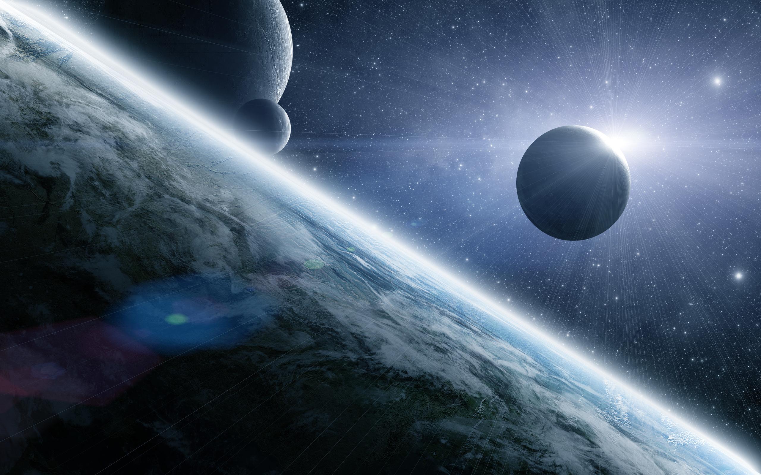 Обои земля, планета, спутник, солнце
