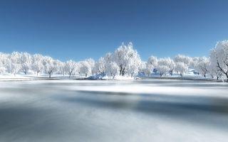 Заставки озеро, зимой, островок