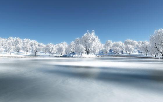 Фото бесплатно озеро, зимой, островок