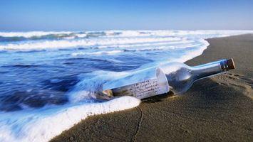 Бесплатные фото бутылка,океан,послание,письмо,волны,берег,разное