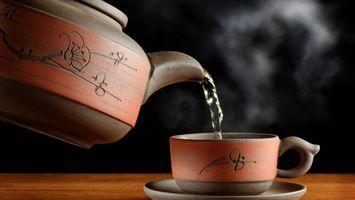 Заставки чайник,чашка,узоры,кипяток,чай,пар,напитки