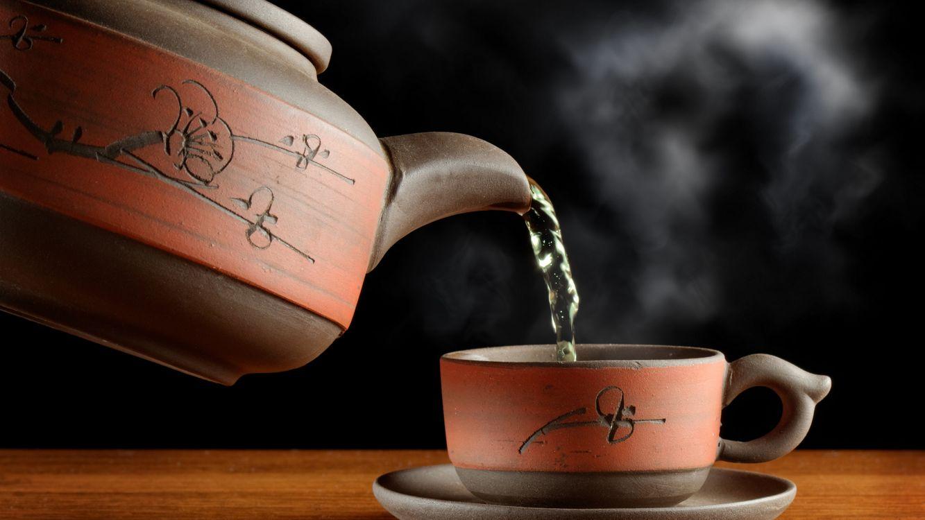 Фото бесплатно чайник, чашка, узоры, кипяток, чай, пар, напитки, напитки