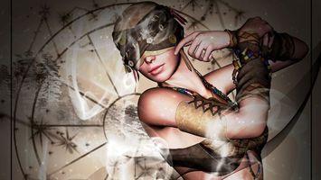 Бесплатные фото девушка,глаза,повязка,губы,рисунок,дым,рендеринг