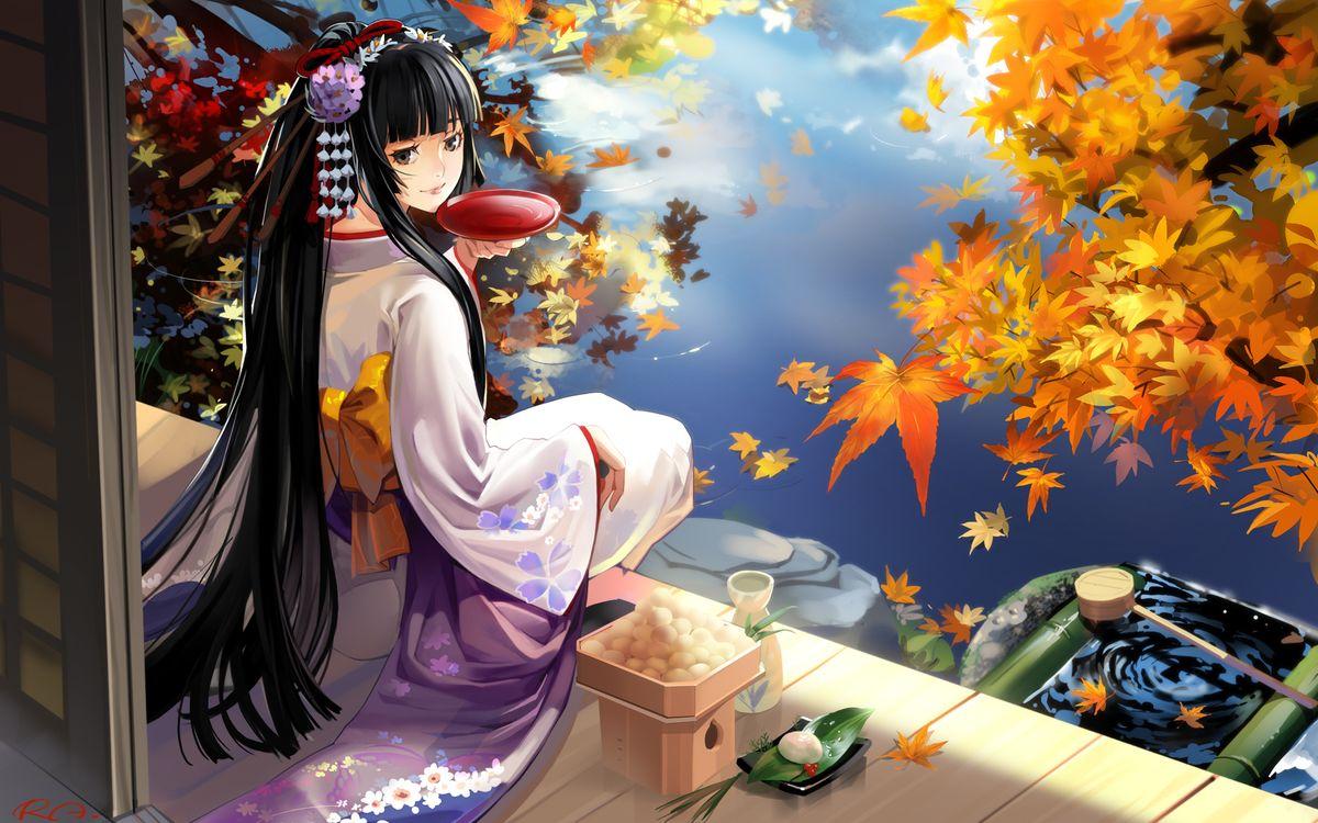 Фото бесплатно девушка, кимоно, волосы, прическа, чай, пруд, река, деревья, листья, желтые, цветы, аниме, аниме