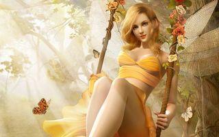 Бесплатные фото фея,крылья,девушка,мотылек,розы,качели,платье