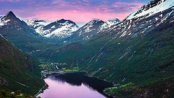 Фото бесплатно горы, снег, трава