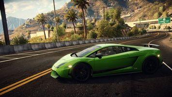 Бесплатные фото ламборджини,зеленый,спойлер,фары,диски,дорога,машины