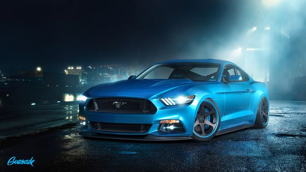 Бесплатные фото mustang,голубой,ночь,машины