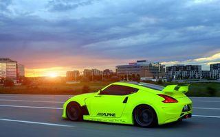 Фото бесплатно Nissan 350Z, кислотный, зеленый