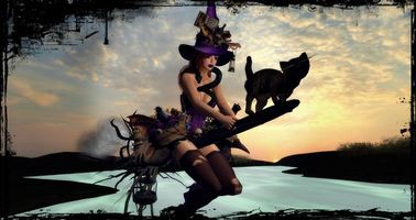Фото бесплатно котенок, ведьма на метле, ночь