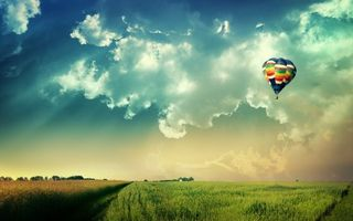 Фото бесплатно поле, луг, тропинка, небо, облака, тучи, рожь, овес, разноцветный, воздуз, высота, пейзажи, природа