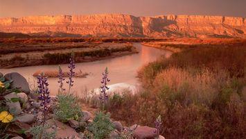 Бесплатные фото трава,река,горы,цветы,вода,небо,облака
