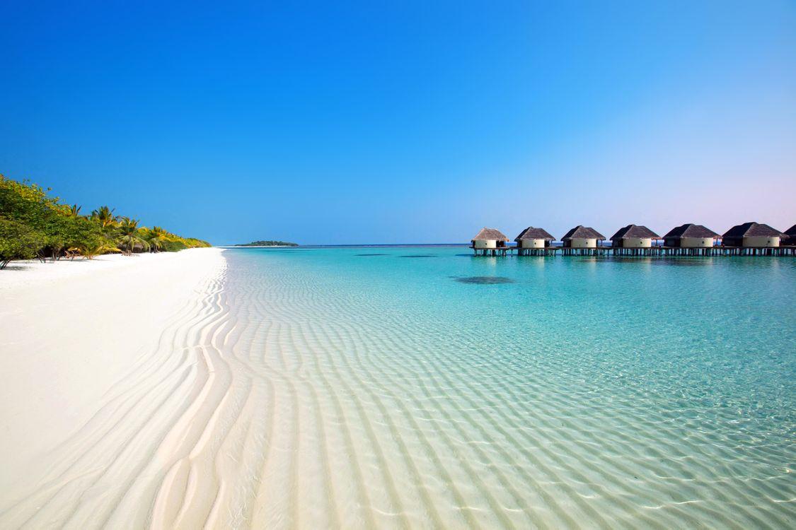Фото бесплатно тропики, мальдивы, море, пляж, остров, бунгало, пейзажи, пейзажи
