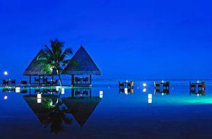 Бесплатные фото тропики,мальдивы,море,ресторан,вечер,разное