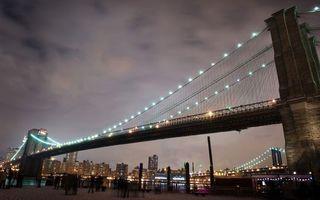 Фото бесплатно вечер, мост, подсветка