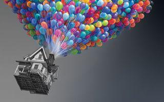 Фото бесплатно вверх, шарики, воздушные, разноцветные, дом, полет, мультфильмы