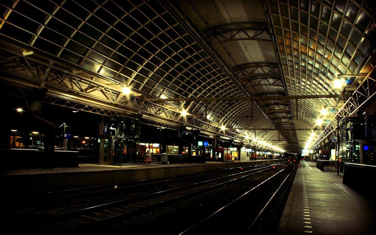 Фото бесплатно станция, электричка, рельсы - на рабочий стол