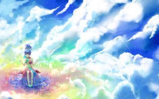 Бесплатные фото арт,девочка,небо,облака,colors of the sky,платье,прическа