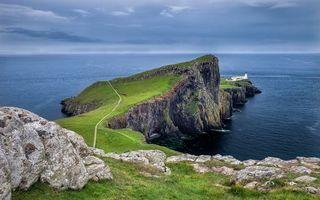 Бесплатные фото берег,обрыв,тропинка,камни,маяк,море,небо