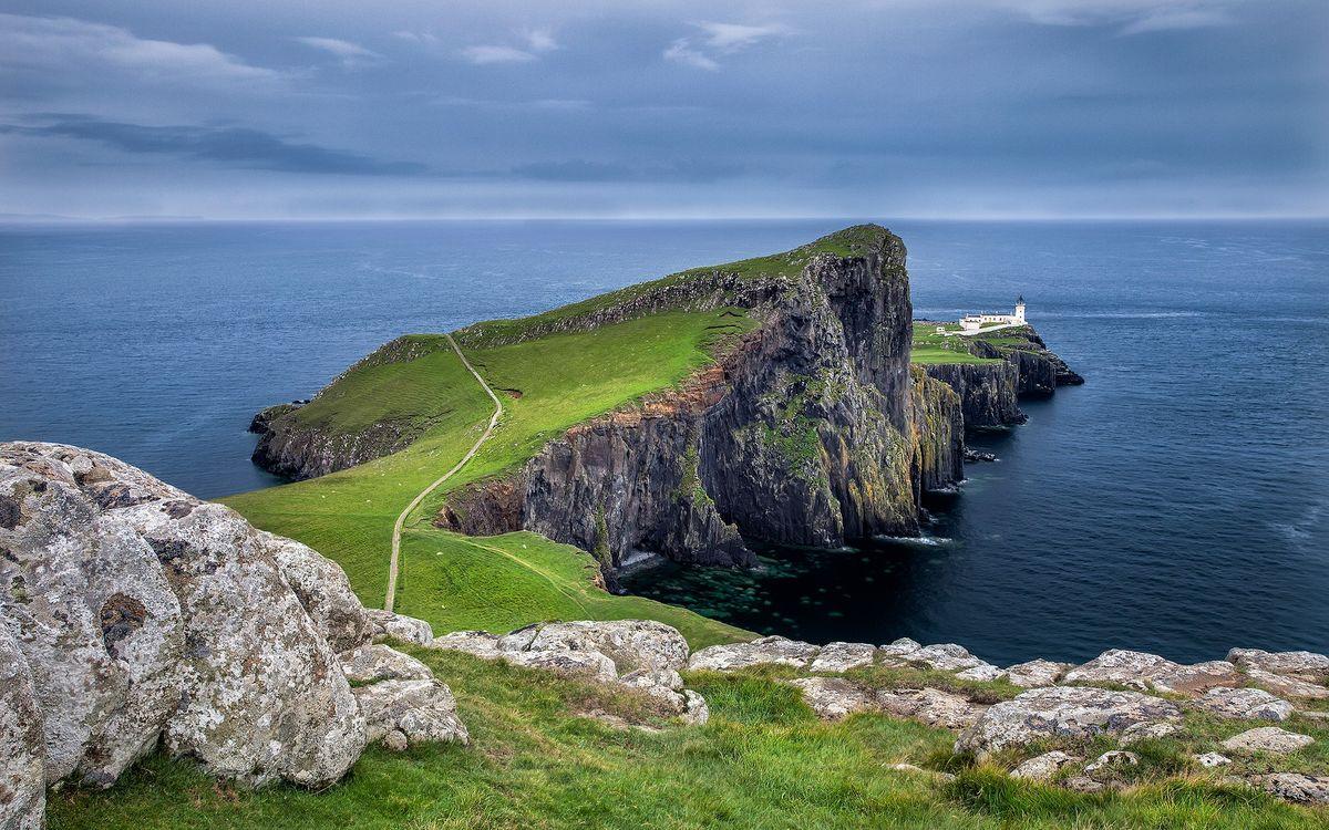 Фото бесплатно берег, обрыв, тропинка, камни, маяк, море, небо, горизонт, пейзажи, пейзажи